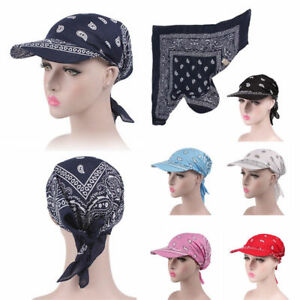 Women s Ladies Muslim Hat Wide Brim Cap Turban Scarf Tie Back Caps ... 4b8d3f5ca3a