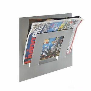 Details About Designer Single Silver Wall Mounted Magazine Newspaper Rack By The Metal House