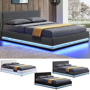 Polsterbett Led Doppelbett Bett Bettgestell Lattenrost