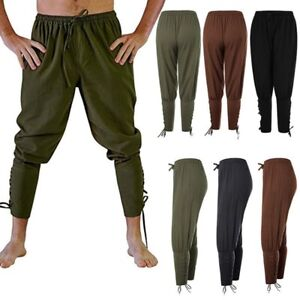 Men-039-s-Medieval-Ankle-Lace-Up-Banded-Pants-Viking-Navigator-Renaissance-Trousers