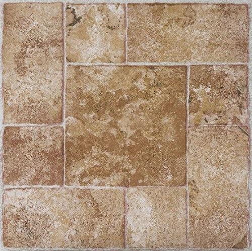Beige Terracotta Stone Self Stick Adhesive Vinyl Floor Tiles 80