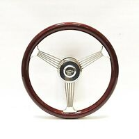 Chevy 15 Mahogany Banjo Steering Wheel With Stainless Steel Spokes