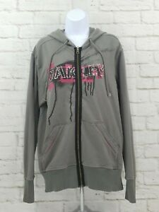 Details about Oakley Womens Full Zip Hoodie Jacket Sweatshirt Large Gray Pink Double Sided