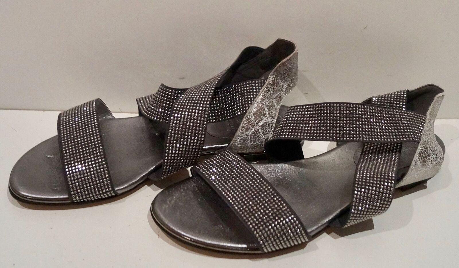 DIAMOND COLLECTION STUART WEITZMAN Silver Grey Diamante Strappy Flat Sandals 5.5