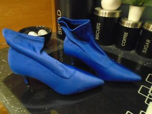 fd01a29c81 NEW NEXT ladies sock fit ..bright blue kitten heel boots..size uk 4 ...