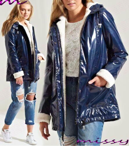 NEW Womens WATERPROOF PADDED LADIES PARKA JACKET WINTER COAT Size 8-16 NAVY BRON