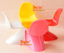 """LOT OF 4PCS 1/6 Scale Dollhouse Miniature Candy color """"S"""" Chairs for Barbie Doll"""