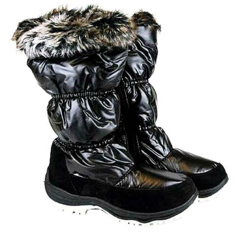 WOMENS FAUX FUR TRIM FLEECE LINED WINTER BOOTS FLAT MID CALF GRIP SOLE BOOT SHOE