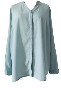 M&S Classic Mint Green Chiffon Blouse Elegant V-Neck Long Sleeves Plus Size 20