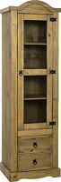 Corona 1 Door 2 Drawer Glass Display Unit In Distressed Waxed Pine - Free Del