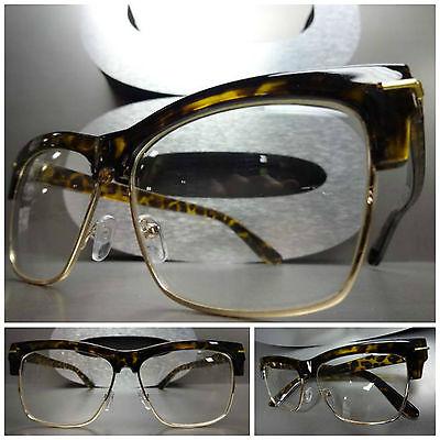 Men or Women VINTAGE 60's RETRO Style Clear Lens EYE GLASSES Tortoise Gold Frame