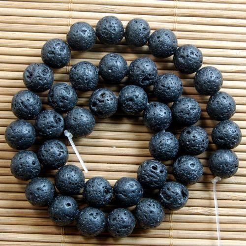 """Natural Nature Black Volcanic Lava Gemstone Round Beads 15/"""""""