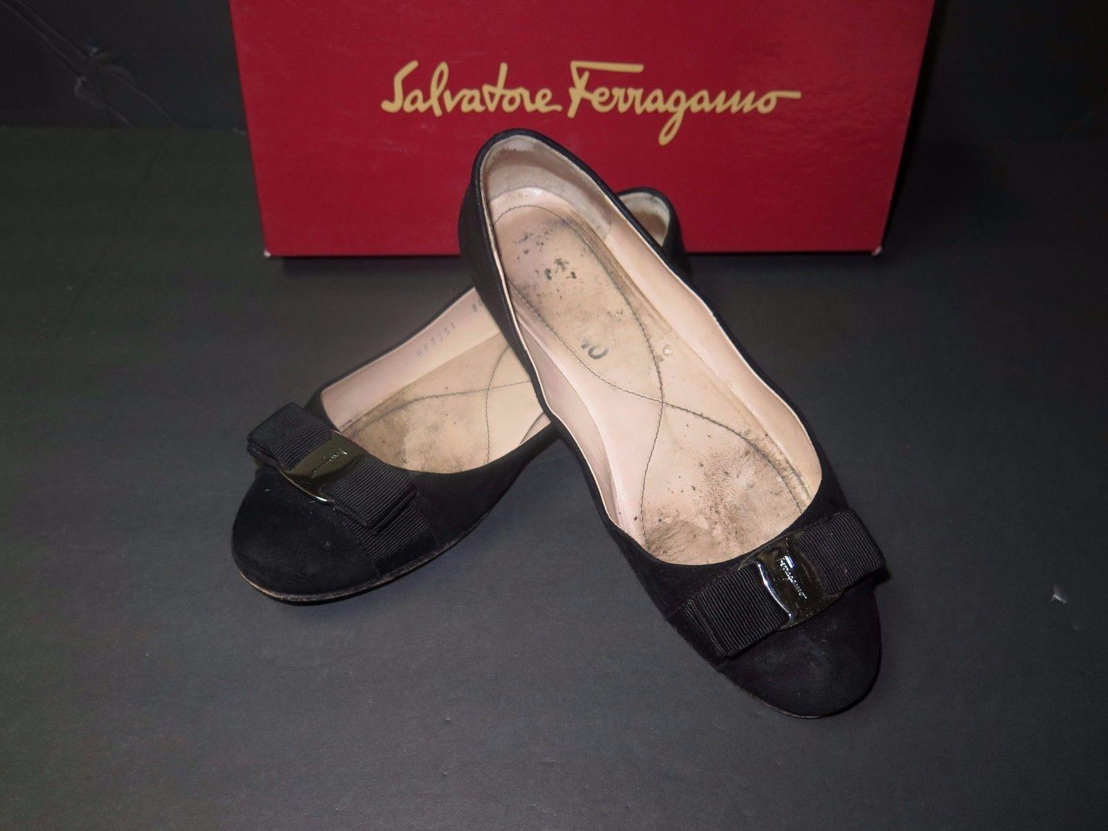 Diseñador Salvatore Ferragamo Negro Gamuza De Ballet Zapatos Planos Planos Planos 7-1 2 2A Italia Usado  lo último