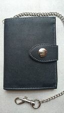 Black Wallet ID Card, Credit Card Holder Trifold Wallet With Security Chain