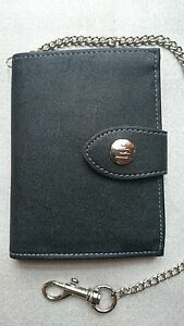Black-Wallet-ID-Card-Credit-Card-Holder-Trifold-Wallet-With-Security-Chain