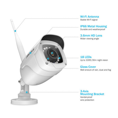 ANNKE Wireless 4x HD 1080P 2MP Security IP Camera IR Night Vision In//Outdoor