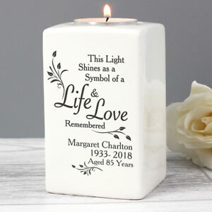 Image Is Loading Personalised Loving Memory Ceramic Tea Light Candle Holder