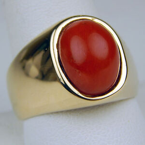 Oval-Shaped-Cabochon-Coral-Wide-Ring-14-kt-Yellow-Gold-Size-11-A1315
