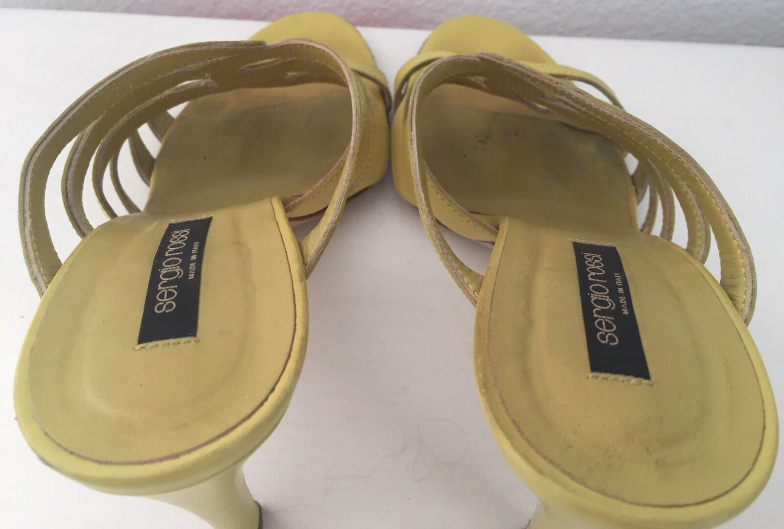 SERGIO ROSSI LIME SANDALS GREEN CAGED SLIP ON HEELS SANDALS LIME Sz 38.5 479cb6