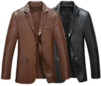 P01  mens genuine real leather suit jacket coat trench outwear overcoat parkas