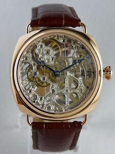 creation montre coussin rose gold squelette type unitas 6497 skeleton watch uhr ebay. Black Bedroom Furniture Sets. Home Design Ideas