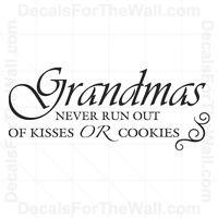 Grandma Never Run Out of Kisses Family Wall Decal Vinyl Art Sticker Decor F31