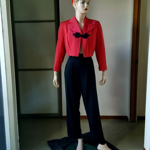 1940s Vintage Gabardine Crop Jacket High Waist Pan