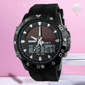 MENS-SOLAR-POWERED-5ATM-WATERPROOF-WATCH-Digital-Sports-Water-Resistant-Gold