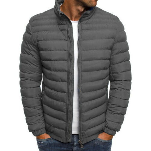 Men/'s Cotton Warm Jakets Solid Zipper Packable Jacket Lightweight Overcoat MALL