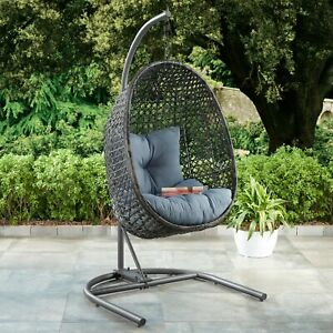 Marvelous Details About Patio Wicker Hanging Chair Stand Porch Swing Outdoor Furniture Blue Cushion Download Free Architecture Designs Ferenbritishbridgeorg