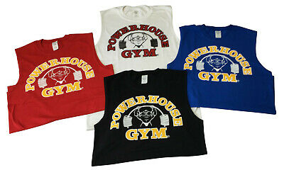 or White- New Red Royal Blue Gold Powerhouse Gym Stringer Tank Top in Black