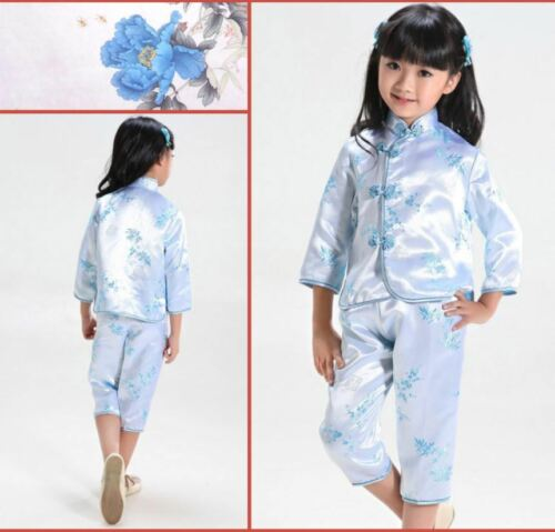 Chinese Japanese Blue Childrens Girls Floral Top /& Trousers Set Pyjama cgps7