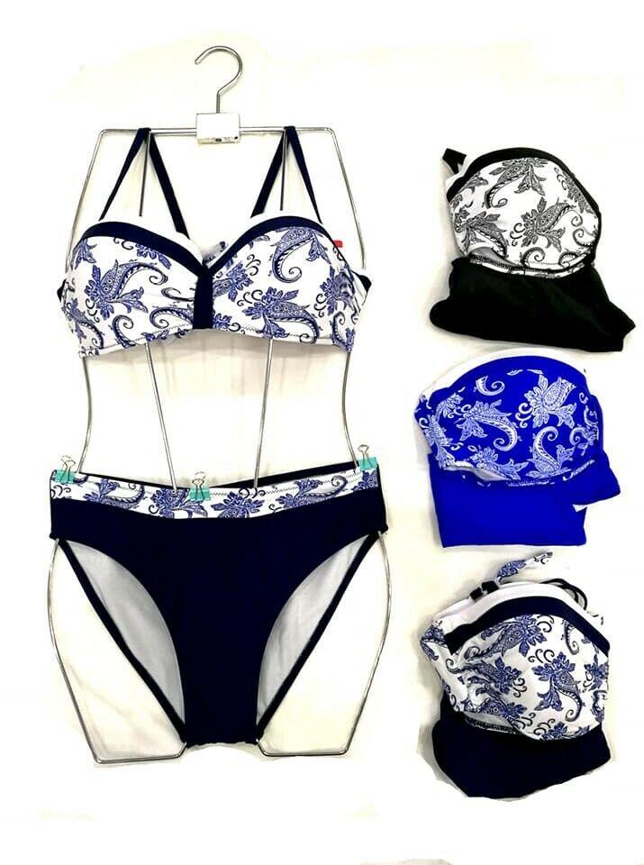 Biquini bikini bañador traje baño Estampado Geométrico Cachemir talla 42 NEGRO