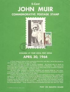 #1245 5c John Muir Naturalist Stamp Poster- Unofficial Souv Pg Flat