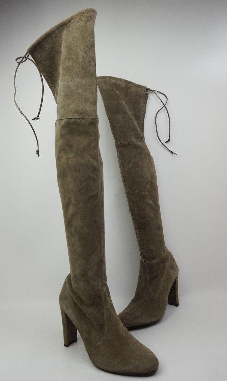 Stuart Weitzman Highland Over the Knee Praline Grey Suede Boots Size 7.5 M