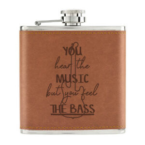 You-Hear-The-Musique-Mais-Feel-Bass-170ml-Cuir-PU-Hip-Flasque-Fauve-Dj-Drole