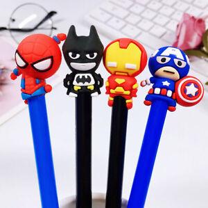 4PC-Superhero-Black-Gel-Ink-Pen-Iron-man-Spiderman-Batman-Captain-School-Pens