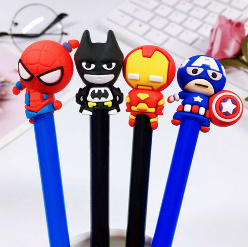 Iron Man Captain Pen 4Pc Superhero Black Gel Ink Pen Batman Spiderman