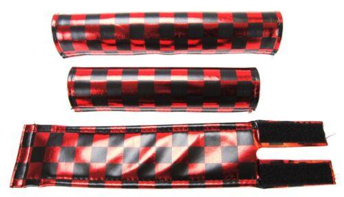 Flite BMX Pad Set Checker Shiney Red /& Black Old School BMX