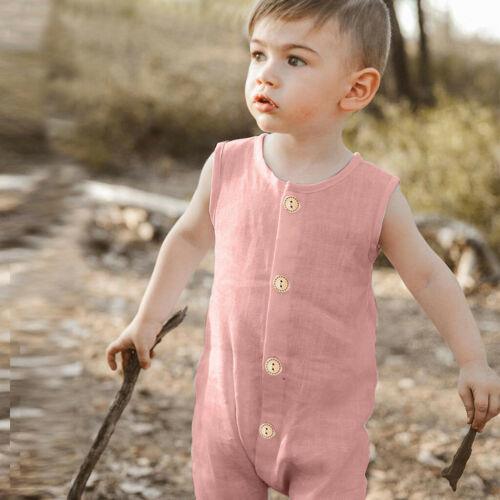 Summer Infant Baby Boy Girl Sleeveless Ruffle Sleeveless Romper Jumpsuit Clothes