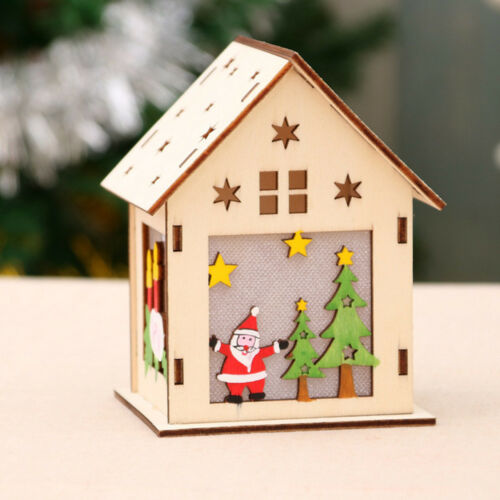 LED Light Wood HOUSE Mini Cute Christmas Tree Hanging Ornaments Holiday Decors