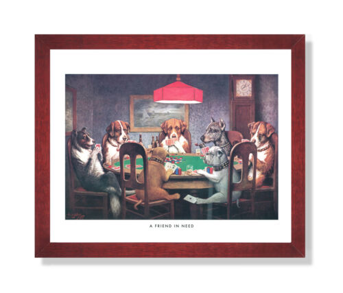 Dogs Playing Poker At Table #1 Wall Picture Cherry Framed Art Print