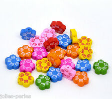 50 Mixed Multicolor Cute Flower Wood Beads 20x20mm