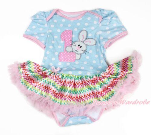 White Dot Bodysuit Easter 1ST Rabbit Bunny Rainbow Chevron Baby Dress NB-18M