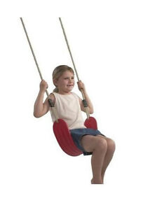 Swingset-Swing-Playground-SOFT-Belt-on-ADJUSTABLE-Ropes-Playset-Accessories-RED