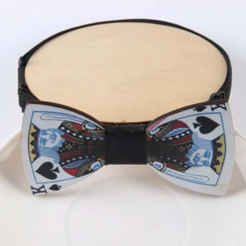 King Of Spades Wooden Bow Tie Elasticated Pre-tied Formal Novelty Quirk