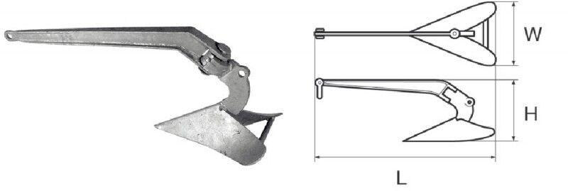 Pflugschar-Anker 9 kg verzinkt Pflugscharanker NEU