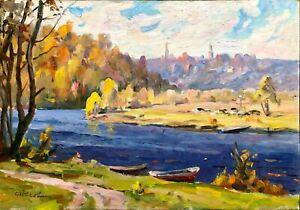 painting-art-IMPRESSIONISM-old-vintage-soviet-river-landscape-Yusov-sedniv