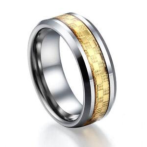 Celtic Gold Carbon Fiber Tungsten Carbide Ring Womens Mens ...