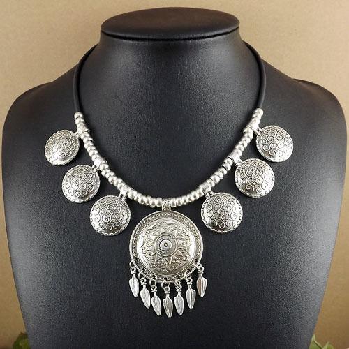 vintage round Tassels Bohemian Tibetan Silver Pendant statement Necklaces women